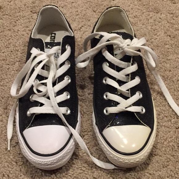 78b3b27f67f3 Converse Shoes - Black Glitter Converse size 6